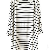 Sheinside Women's White Black Striped Loose T-Shirt