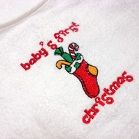 Bib Babys First Christmas Stocking Embroidered Terry Cotton Snap Close