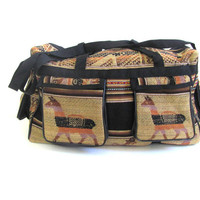 20% OFF SALE...Vintage ethnic weekender travel bag / embroidery suitcase duffel purse