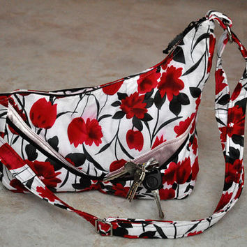 beautiful asymmetrical floral purse -- black white red and pink with many pockets and adjustable strap