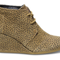NATURAL CHEETAH SUEDE WOMEN'S DESERT WEDGES