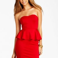 Solid Peplum Dress