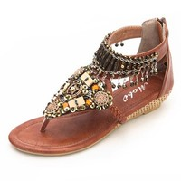 Women's Beaded Toe Post Wedge Sandal