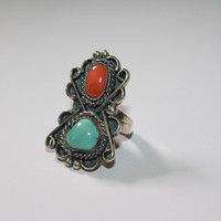 Large Antiqued Sterling Silver with Coral Red and Turquoise Stones Ring Vintage Sterling Silver Ring Size 6 - free ship US