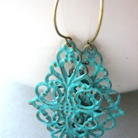 faux patina turquoise metal filigree earrings by prettythingsbymeg