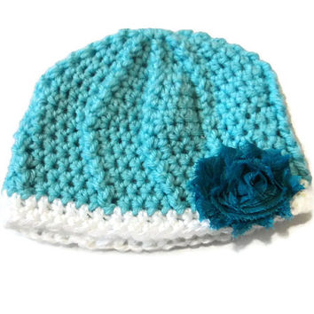 Baby Girl 0-3 Month Blue Hat Flower