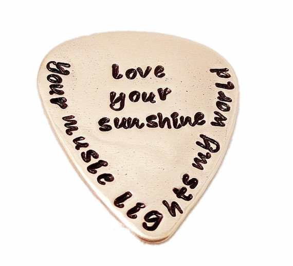 Personalized Guitar Pick - Hand Stamped Copper - Sterling Silver - Brass