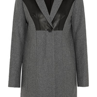 Diane von Furstenberg Iris leather-paneled wool-blend coat – 50% at THE OUTNET.COM