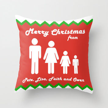 Custom Christmas gift, throw pillow in red, green and white. Custom family portrait cushion cover. Personalised Christmas gift pillow case.