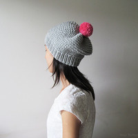 Hand Knitted Hat in Silver Grey - Beanie with Fuchsia Pom Pom - Slouch Seamless Hat - Wool Blend - Ready to Ship
