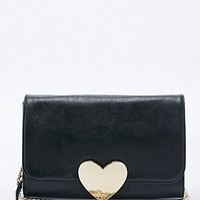 Deena & Ozzy Gold Heart Lock Cross Body Clutch Bag in Black - Urban Outfitters