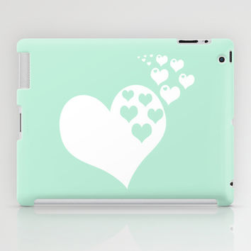 Mint White Hearts of Love iPad Case by BeautifulHomes