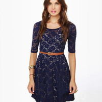 Cute Blue Dress - Lace Dress - Navy Dress - $46.00