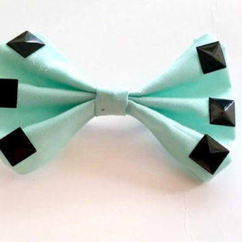 Mint and Black Studded Hair Bow