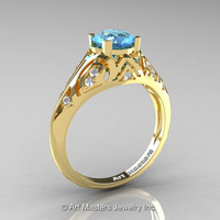 Classic Armenian 18K Yellow Gold 1.0 Ct Swiss Blue Topaz Diamond Engagement Ring R477-18KYGDSBT