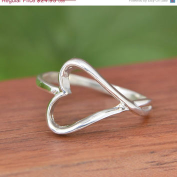 SALE Sterling Silver Heart Ring – Heart Ring – Silver Heart Ring – Silver Ring – Sterling Ring -…