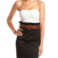 Belted 2-Tone Dress