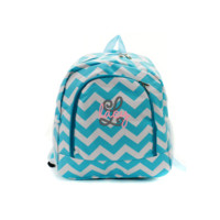 ON SALE- Aqua Blue and White Chevron Print 17 Inch Backpack With Free Monogramming