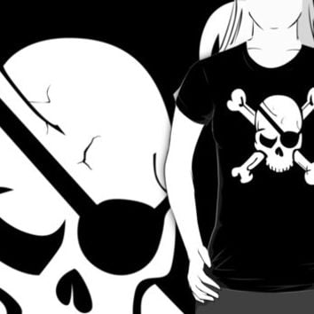 Pirate Skull and Crossbones With Eye Patch T Shirt