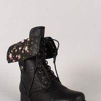 Floral Fold-Over Military Lace Up Boot