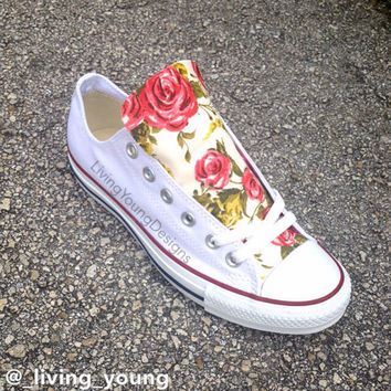 Roses Floral Converse Shoes  Custom Floral Chuck Taylors