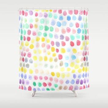 Watercolour Dots Shower Curtain by Ornaart | Society6