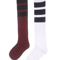 Wide Stripe Tube Sock 2-Pack | Wet Seal