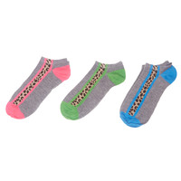 Leopard Stripe Ankle Sock 3-Pack | Wet Seal