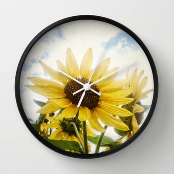 Summer Sunflower Sky Wall Clock by RichCaspian | Society6