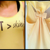 Workout Tank Top Bow Racerback Fit Greater than Skinny - Medium