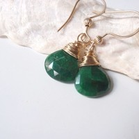 Emerald and Gold Earrings Faceted Briolettes WireWrapped w Gold Bead
