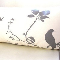 Grey Print on Off white Flying By Rectangle Pillow