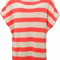 Duffy NY Orange Striped Oversized Top