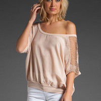 MISS FERRIDAY Portofino Lace Yoke Dolman in Crema at Revolve Clothing - Free Shipping!