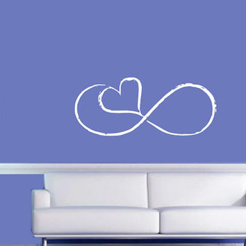 Infinite Symbol with Heart Wall Decal - Home Decor - Living Room - Bedroom - Gift Idea - Nursery - Kids Room - High Quality Vinyl Graphic