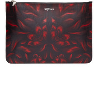 Black Leather Floral Print Zip Pouch42259F067014