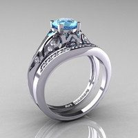 Classic Armenian 14K White Gold 1.0 Ct Swiss Blue Topaz Diamond Engagement Ring Wedding Band Set R477S-14KWGDSBT