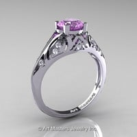 Classic Armenian 14K White Gold 1.0 Ct Lilac Amethyst Diamond Engagement Ring R477-14KWGDLAM