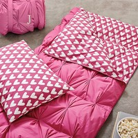 Pintuck Sleeping Bag + Pillowcase, Pink Magenta Sweethearts