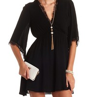 LACE-TRIMMED KIMONO SLEEVE SURPLICE DRESS