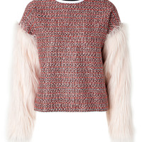 MSGM - Woven Top with Faux Fur Sleeves