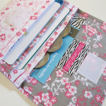 Floral Women's Wallet, Cards & Cash Wallet, Fabric Wallet, Hot Pink, Gray, White