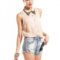 Embellished Double Collar Sleeveless Top in Sand