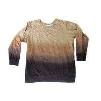 Vtg Ombre Slouchy Sweater Dip Dyed Wood Earth Tones, M L XL