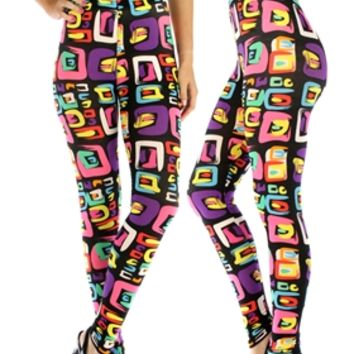 HauteChicWebstore Multi Colored Shapes Print Leggings