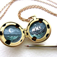 Night Sailing Locket, Hand-painted, Under the Moon with Stars, Miniature Adventure Escape