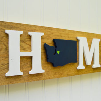 """Seattle Seahawks """"State Heart"""" Home Sign – Handcrafted wood with official team…"""