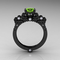 Classic Armenian 14K Black Gold 1.0 Ct Peridot Diamond Solitaire Wedding Ring R608-14KBGDP