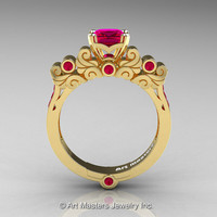 Classic Armenian 18K Yellow Gold 1.0 Ct Princess Rose Rubies Solitaire Wedding Ring R608-18KYGRR