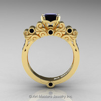 Classic Armenian 18K Yellow Gold 1.0 Ct Princess Black Diamond Solitaire Wedding Ring R608-18KYGSBD
